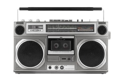 Retro ghetto blaster isolated on white with clipping path