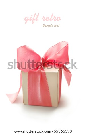 Retro gift box with pink ribbon