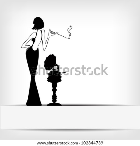 retro girl with old gramophone background - vector version in portfolio