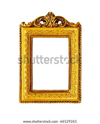 Retro gold frame isolated with clipping path included - stock photo