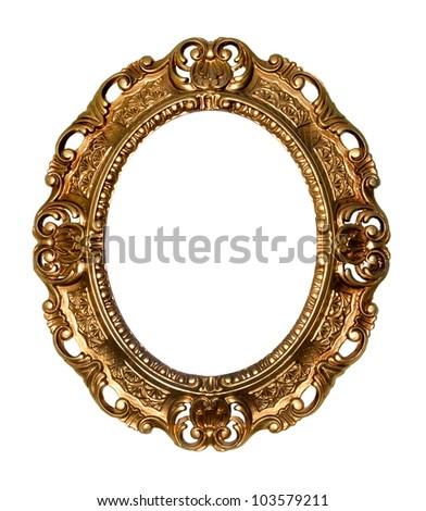 Retro gold frame - Oval , on white background