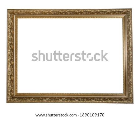 Retro gold or bronze frame with delicate patterns for photos, text, images or paintings, isolated on a white background Photo stock ©