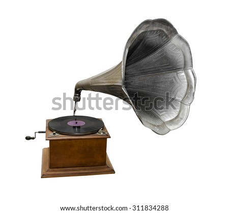 Retro gramophone isolated on a white background. #311834288