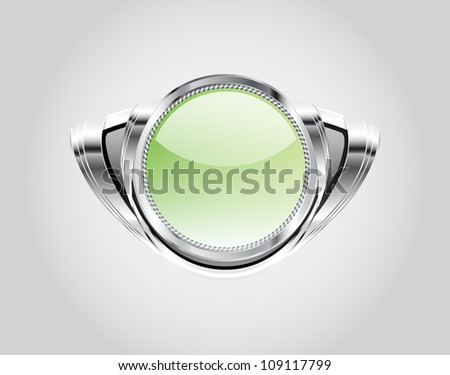 Retro green automotive styled metallic glassy badge on gray - Raster version