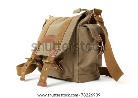 Retro green brown backpack isolated on white background