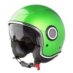 Retro Green Open Face Modern Motorcycle Helmet Isolated on White. Cruiser Scooter Flip Up Motorbike Helm with Retractable Double Visor. Side View Scooter Headgear. Sports Gear. Protective Equipment