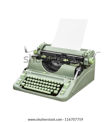 Retro green typewriter isolated with clipping path.
