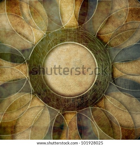 Retro grunge  paper background, abstract circles pattern