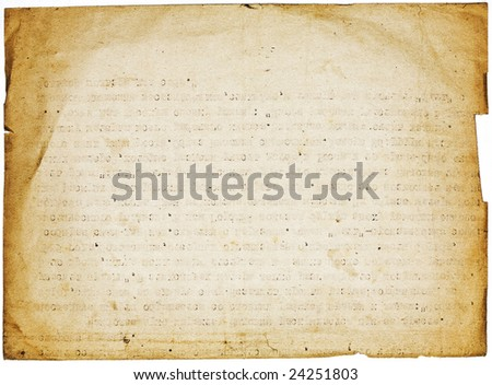 Retro grunge paper page on white background. Design element with torn dark borders and text imprint