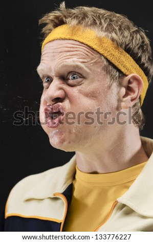 Retro Gym Yelling At His Team With Spit Flying Out Of His Mouth