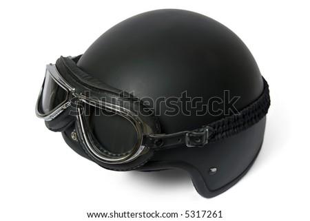 Retro helmet and goggles motorcyclist's
