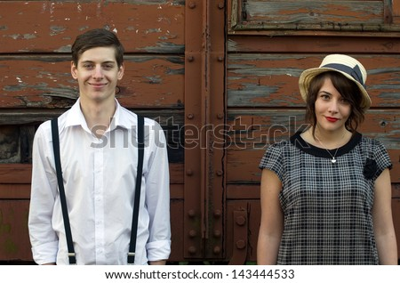 Retro hip hipster romantic love couple funny face vintage industrial setting