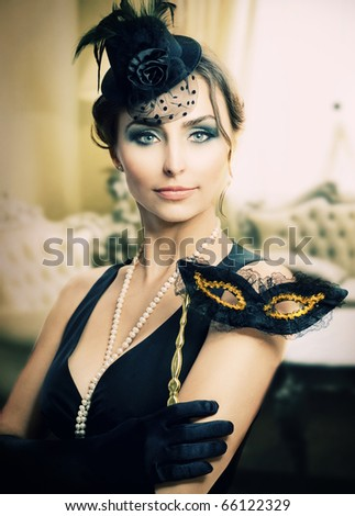 Retro Holidays Celebration.Masquerade.Vintage Styled