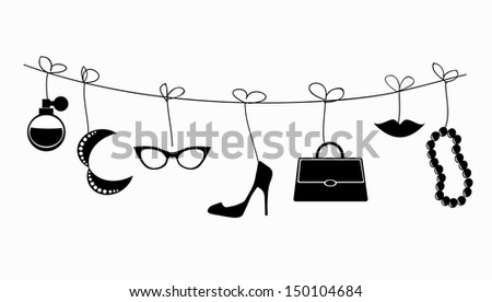 Retro illustration - lady's accessories hanging on the strings.