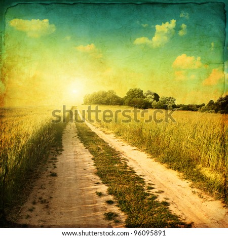 retro image of country road at...
