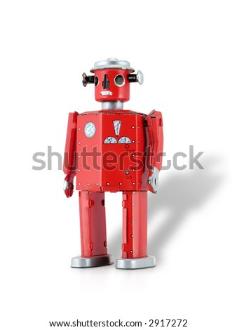 Retro-inspired reproduction 1950s Red Tin Robot