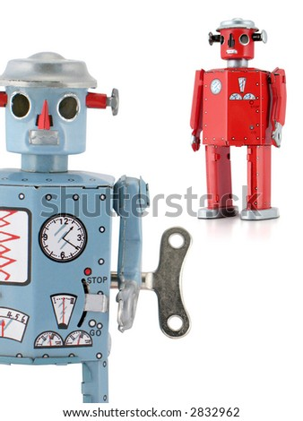 Retro-inspired reproduction 1950s Tin Robots