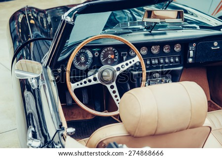 Retro interior of old automobile