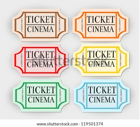Retro, isolated cinema tickets.