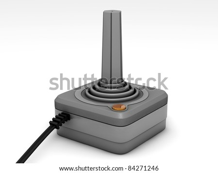 retro joystick isolated on white background