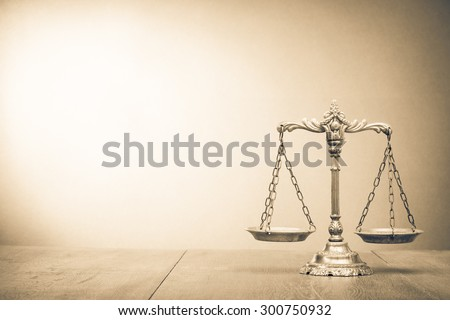 retro law scales on table....