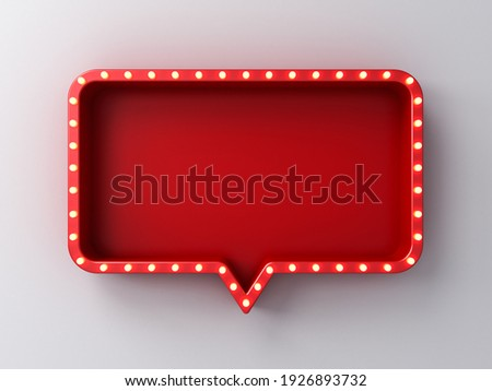 Retro light signboard blank red rounded rectangle pin isolated on white wall background with shadow 3D rendering