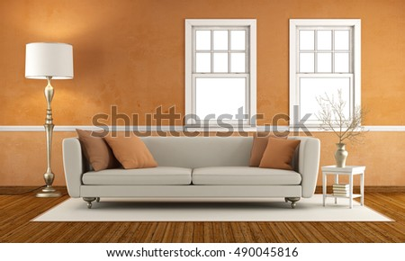 Shutterstock Retro living room with double hung windows - 3d rendering