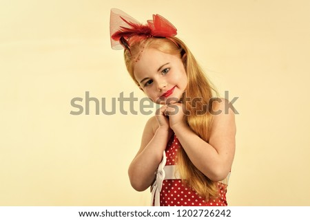92d15916183d Retro look, hairdresser, makeup. Child girl in stylish glamour elegant dress.  Little