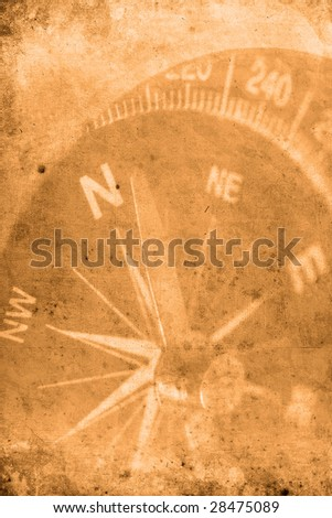 Retro look of compass showing the way to north Stock photo ©