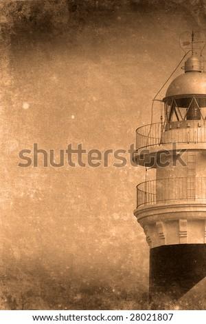 Retro look of light house menorca spain Stock photo ©