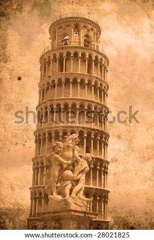 Retro look of the Tower of Pisa Stock photo ©