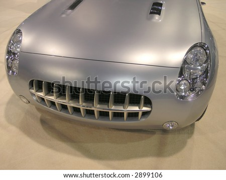 Retro Luxury Sports car front with grille