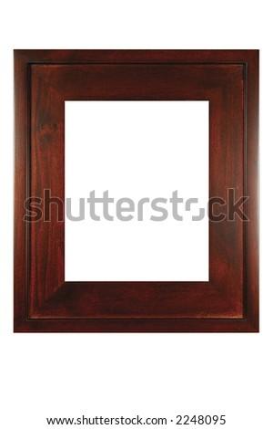 Retro mahogany photo frame - isolated on white background