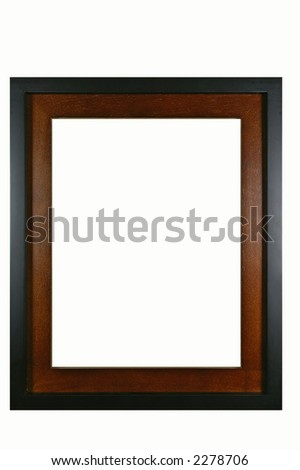 Retro mahogany photo frame - isolated on white background
