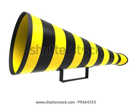 Retro megaphone in a yellow and black colors isolated on white background.