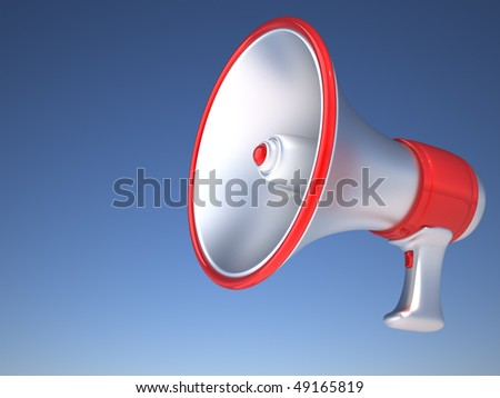 Retro megaphone isolated over blue sky. 3d render illustration