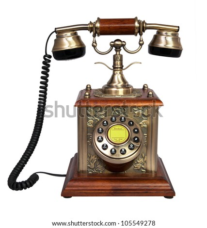 Retro metal and wooden Phone. Isolated