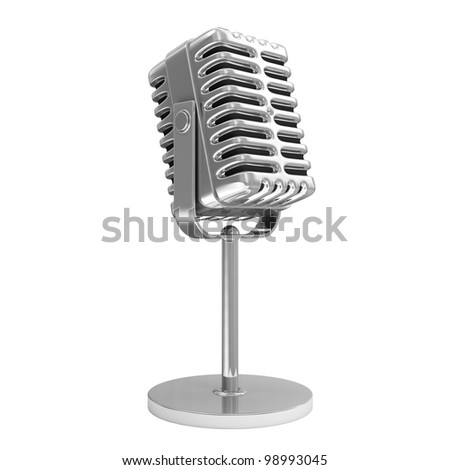 Retro Metallic Microphone isolated on white background - stock photo