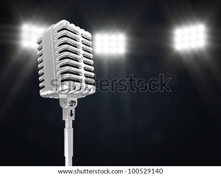 Retro Metallic Microphone on Stage Spotlight with Rays