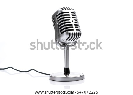 Retro microphone isolated on white background - Shutterstock ID 547072225
