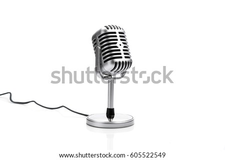 Retro microphone isolated on white background #605522549