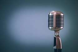 retro microphone, light blue background