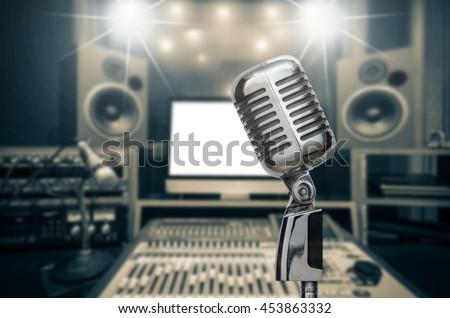 retro microphone over the photo ...