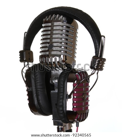 Retro Microphone & Retro Headphones