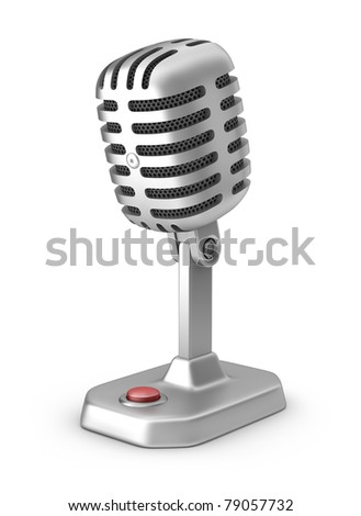 Retro microphone with button. Isolated on white - stock photo