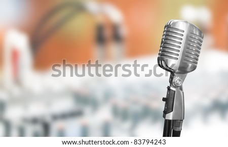Retro microphone with mixer background