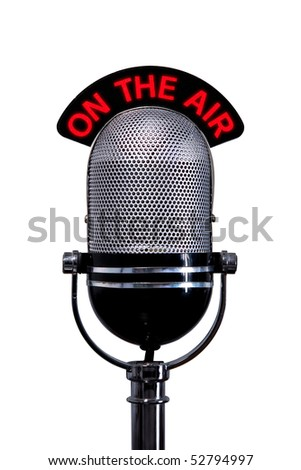 Retro microphone with On the Air sign, isolated on a white background. - stock photo