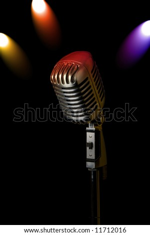Retro microphone with 3 spotlights