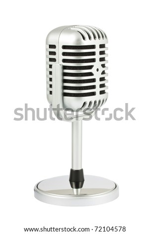 Retro microphone with stand isolated on white background