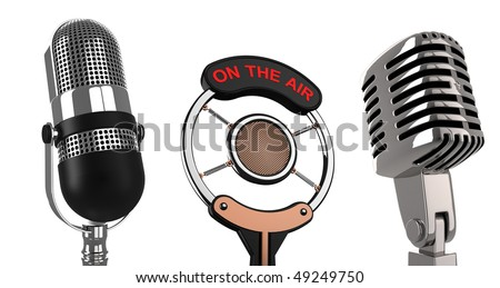 Retro microphones over white - 3d render illustration